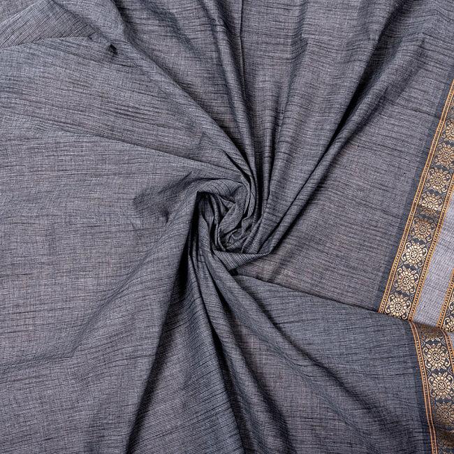南インドのハーフボーダー・シンプル・コットン布〔幅約110cm〕 - グレー系 4 - インドならではの布ですね。