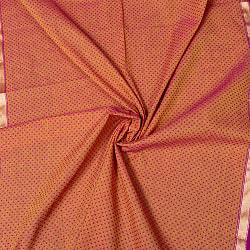 南インドのハーフボーダー・シンプル・コットン布〔幅約106.5cm〕 - 赤紫×イエロー系