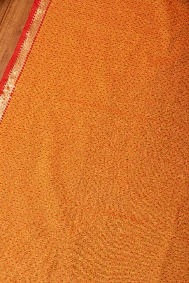 南インドのハーフボーダー・シンプル・コットン布〔幅約108cm〕 - オレンジ系 2 - とても素敵な雰囲気です
