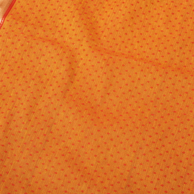 南インドのハーフボーダー・シンプル・コットン布〔幅約108cm〕 - オレンジ系 3 - 1mの長さごとにご購入いただけます。