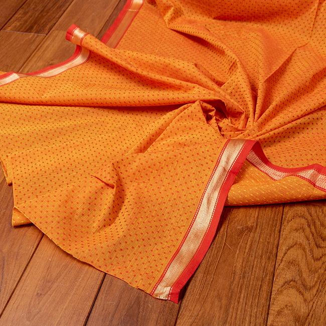 南インドのハーフボーダー・シンプル・コットン布〔幅約108cm〕 - オレンジ系 4 - インドならではの布ですね。