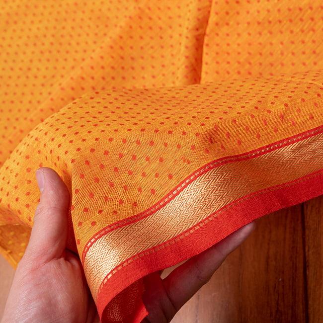 南インドのハーフボーダー・シンプル・コットン布〔幅約108cm〕 - オレンジ系 5 - 生地の拡大写真です。とても良い風合いです。