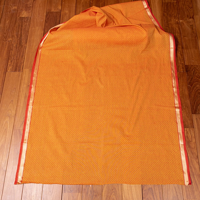 南インドのハーフボーダー・シンプル・コットン布〔幅約108cm〕 - オレンジ系 6 - 生地を広げてみたところです。横幅もしっかりあります。注文個数に応じた長さにカットしてお送りいたします。