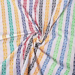〔1m切り売り〕南インドの花柄ストライプ布〔幅約112cm〕 - カラフル系