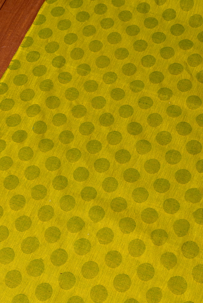 〔1m切り売り〕南インドのコインドット 水玉模様布〔幅約108cm〕 - グリーンティー系 3 - 1mの長さごとにご購入いただけます。