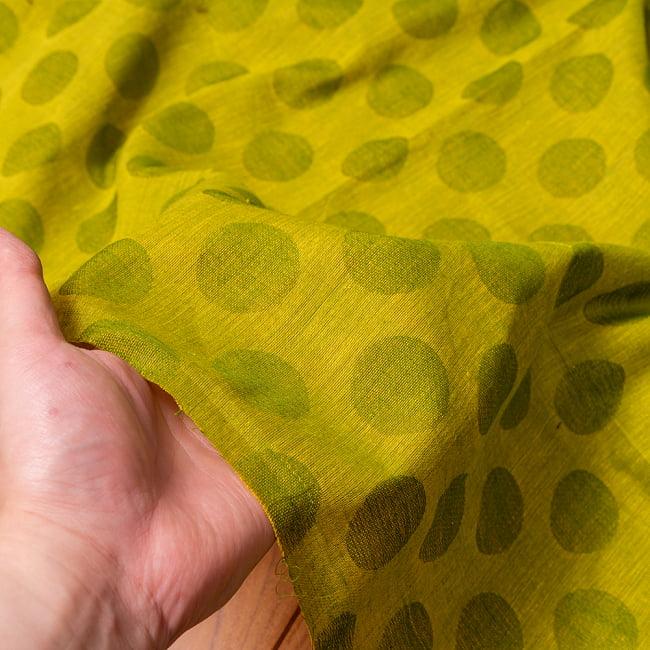 〔1m切り売り〕南インドのコインドット 水玉模様布〔幅約108cm〕 - グリーンティー系 6 - このような質感の生地になります
