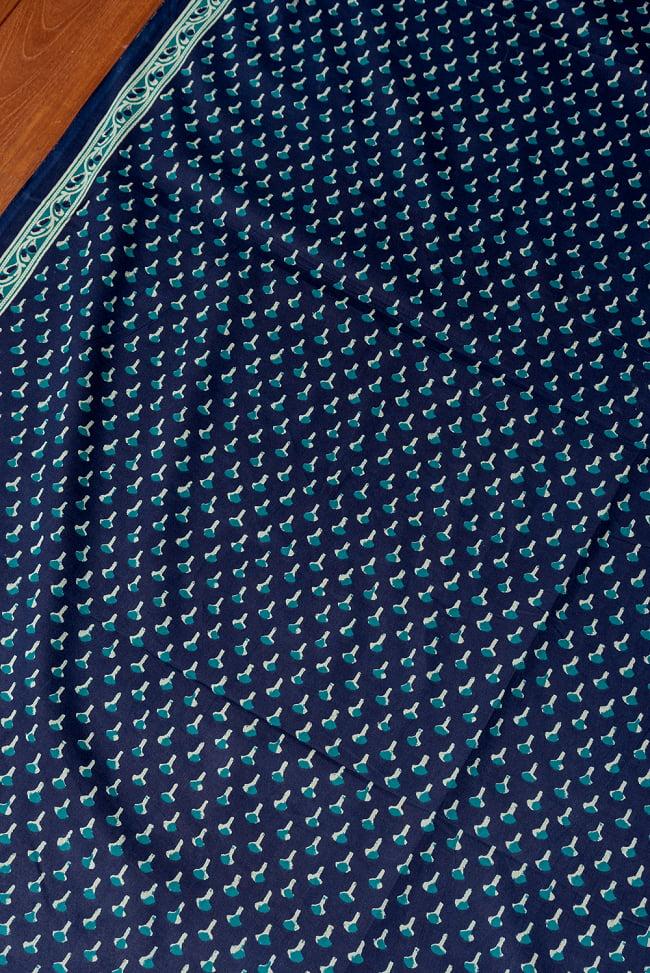 〔1m切り売り〕南インドの小花柄布〔幅約107cm〕 - ブルー系 3 - 1mの長さごとにご購入いただけます。