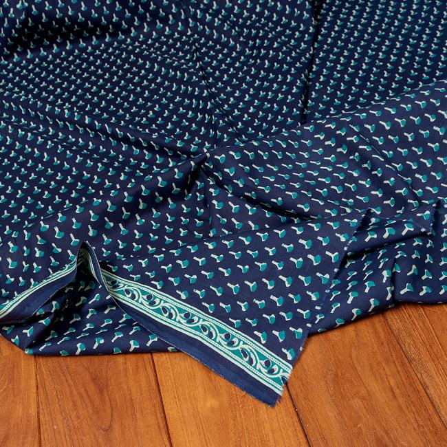 〔1m切り売り〕南インドの小花柄布〔幅約107cm〕 - ブルー系の写真