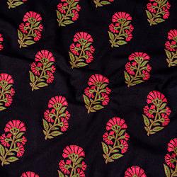 〔1m切り売り〕伝統息づく南インドから フラワー模様布〔幅約103.5cm〕 - ブラック系