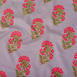 〔1m切り売り〕伝統息づく南インドから フラワー模様布〔幅約104cm〕 - グレー系