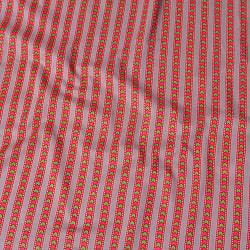 〔1m切り売り〕南インドのアローストライプ布〔幅約105cm〕 - グレー×ピンク系の商品写真