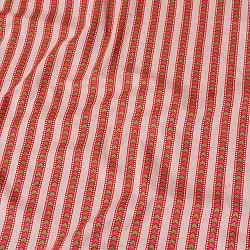 〔1m切り売り〕南インドのアローストライプ布〔幅約104.5cm〕 - ホワイト×ピンク系の商品写真