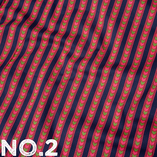 〔1m切り売り〕南インドのアローストライプ布〔幅約103cm〕 10 -
