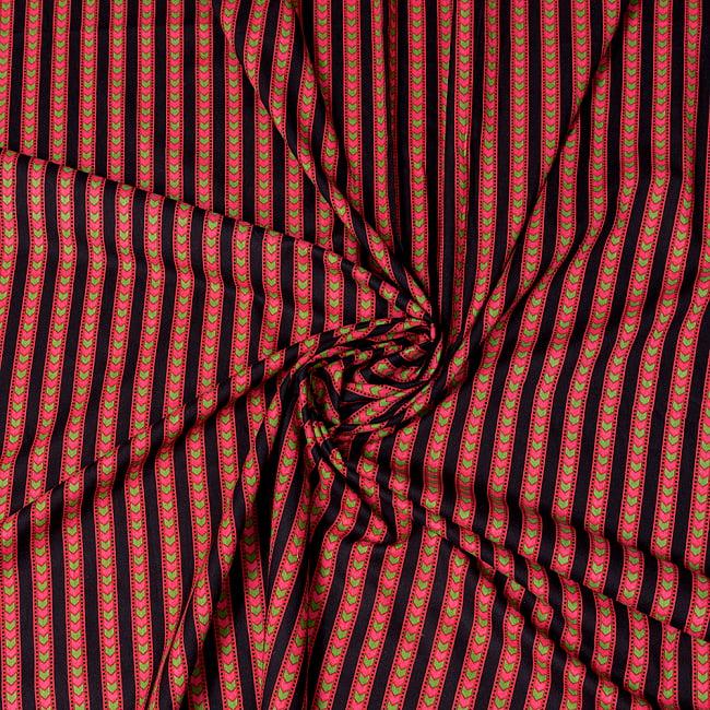 〔1m切り売り〕南インドのアローストライプ布〔幅約103cm〕 4 - インドならではの布ですね。