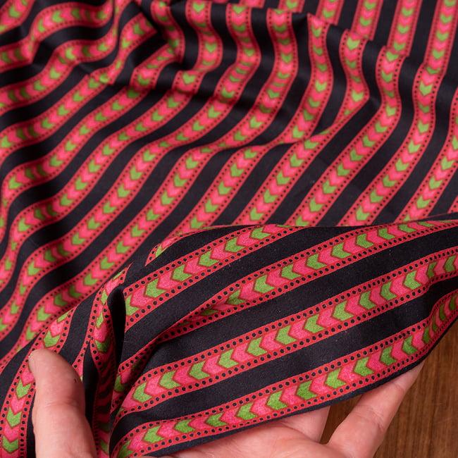 〔1m切り売り〕南インドのアローストライプ布〔幅約103cm〕 6 - このような質感の生地になります