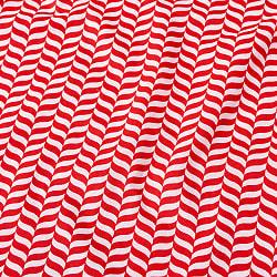 〔1m切り売り〕南インドのキャンディケインストライプ布 ヘリンボーン〔幅約109cm〕 - 赤×白系