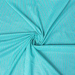 〔1m切り売り〕南インドのシングル・ストライプ布〔幅約105cm〕 - ミントグリーン系の商品写真