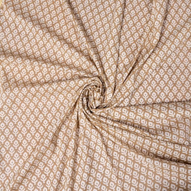 〔1m切り売り〕伝統息づく南インドから ゴールド装飾付き花柄布〔幅約104cm〕 - ホワイト×ライトブラウン系 5 - 生地の拡大写真です。とても良い風合いです。