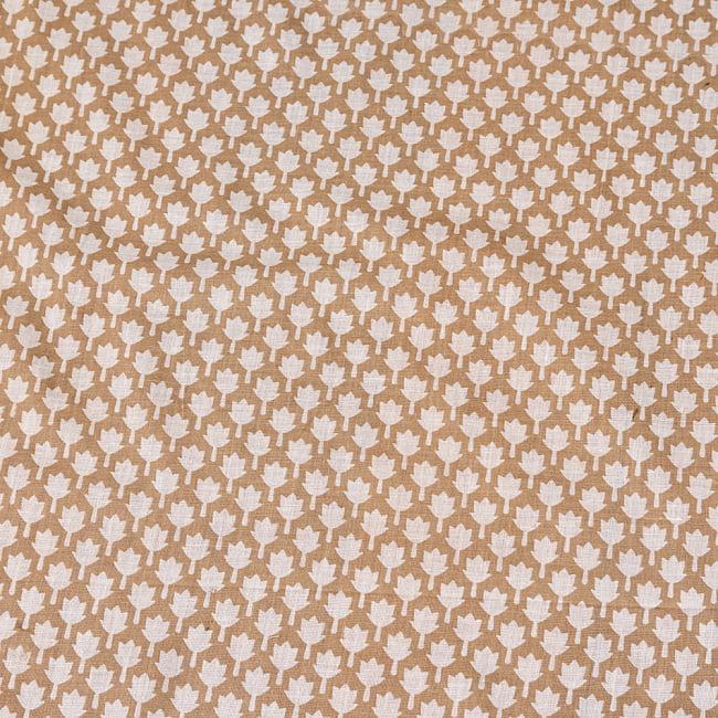 〔1m切り売り〕伝統息づく南インドから ゴールド装飾付きリーフ柄布〔幅約106cm〕 - ホワイト×ライトブラウン系 4 - インドならではの布ですね。