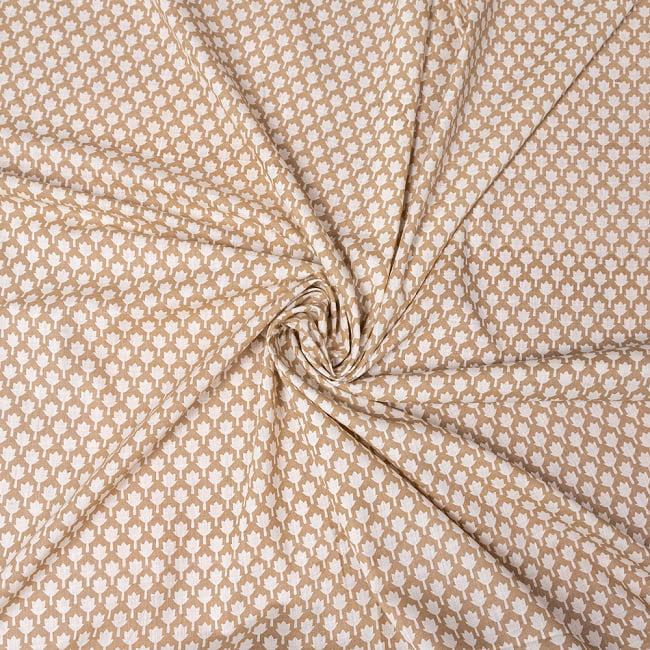 〔1m切り売り〕伝統息づく南インドから ゴールド装飾付きリーフ柄布〔幅約106cm〕 - ホワイト×ライトブラウン系 5 - 生地の拡大写真です。とても良い風合いです。