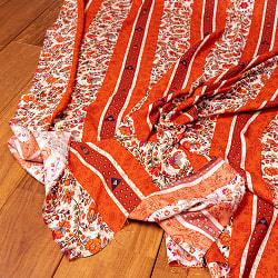 〔1m切り売り〕南インドの肌触り柔らかな更紗ストライプ布〔幅約111cm〕 - オレンジ×レッド系