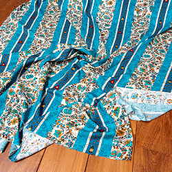 〔1m切り売り〕南インドの肌触り柔らかな更紗ストライプ布〔幅約113cm〕 - ターコイズ系