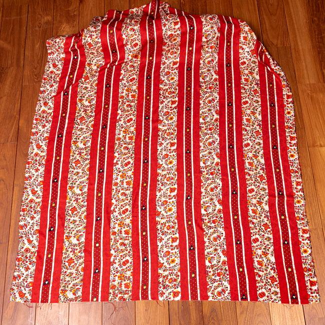 〔1m切り売り〕南インドの肌触り柔らかな更紗ストライプ布〔幅約112cm〕 - レッド系 2 - 生地全体を広げてみたところです。1個あたり1mとして、ご注文個数に応じた長さにカットしてお送りいたします。