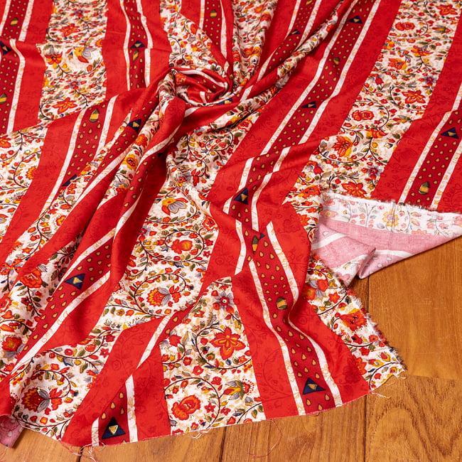 〔1m切り売り〕南インドの肌触り柔らかな更紗ストライプ布〔幅約112cm〕 - レッド系の写真