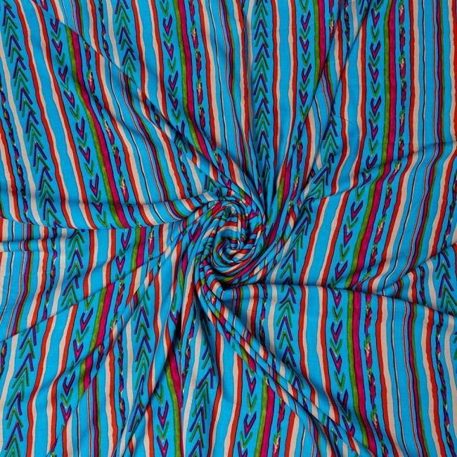 〔1m切り売り〕南インドの肌触り柔らかなトライバルストライプ布〔幅約111cm〕 - ブルー系 5 - 生地の拡大写真です。とても良い風合いです。