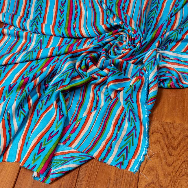 〔1m切り売り〕南インドの肌触り柔らかなトライバルストライプ布〔幅約111cm〕 - ブルー系の写真