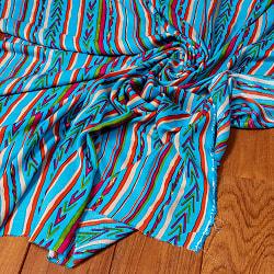 〔1m切り売り〕南インドの肌触り柔らかなトライバルストライプ布〔幅約111cm〕 - ブルー系の商品写真
