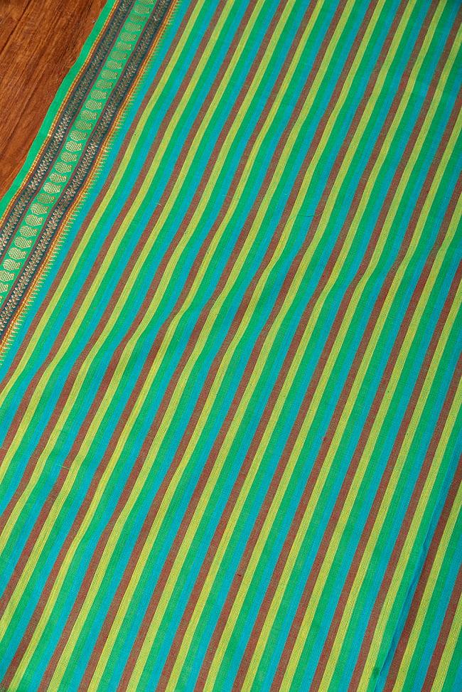 〔1m切り売り〕南インドのハーフボーダー ストライプコットンクロス〔幅約108cm〕 - グリーン系 3 - 1mの長さごとにご購入いただけます。