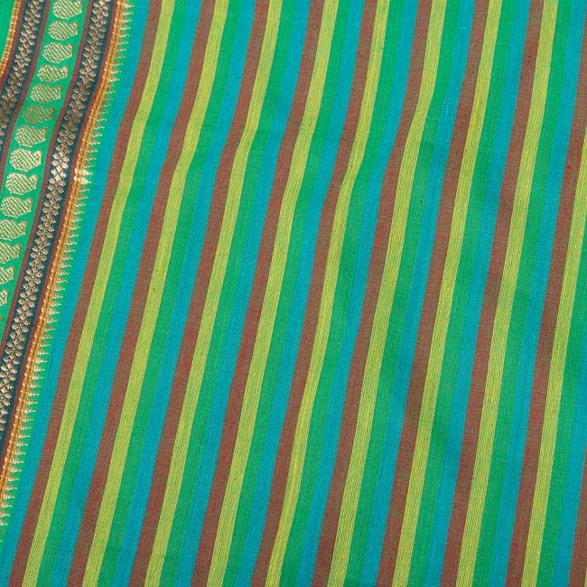 〔1m切り売り〕南インドのハーフボーダー ストライプコットンクロス〔幅約108cm〕 - グリーン系 4 - インドならではの布ですね。