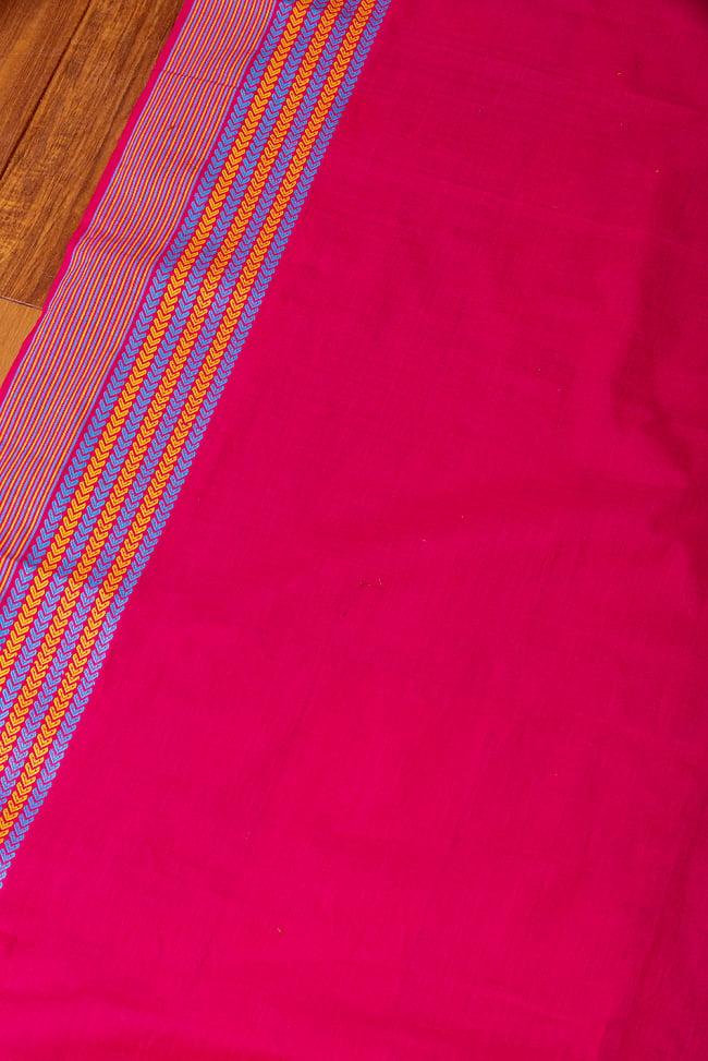 〔1m切り売り〕南インドのハーフボーダーコットンクロス〔幅約106cm〕 - マゼンタ系 3 - 1mの長さごとにご購入いただけます。