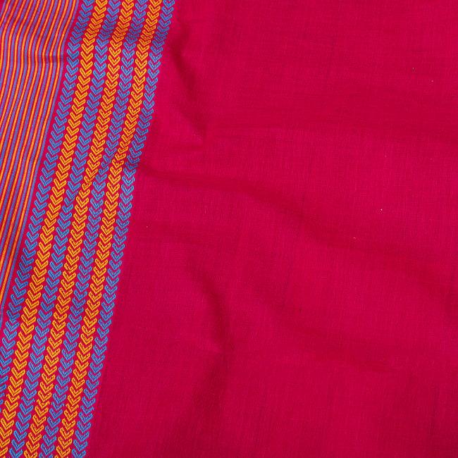 〔1m切り売り〕南インドのハーフボーダーコットンクロス〔幅約106cm〕 - マゼンタ系 4 - インドならではの布ですね。