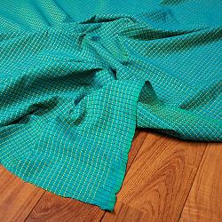 〔1m切り売り〕南インドのシンプルコットン チェック模様布〔約106cm〕 - グリーン
