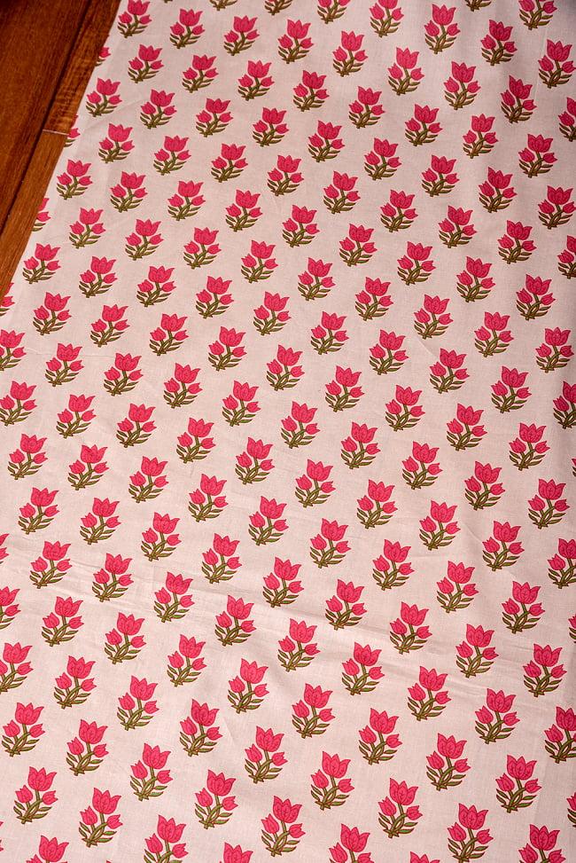〔1m切り売り〕南インドの小花柄布〔約106cm〕 - ホワイトベージュ 3 - 1mの長さごとにご購入いただけます。