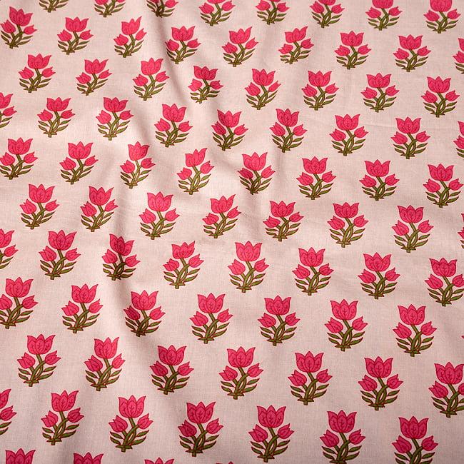 〔1m切り売り〕南インドの小花柄布〔約106cm〕 - ホワイトベージュ 4 - インドならではの布ですね。