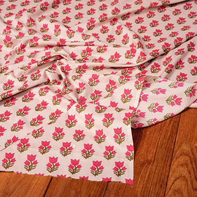 〔1m切り売り〕南インドの小花柄布〔約106cm〕 - ホワイトベージュの写真