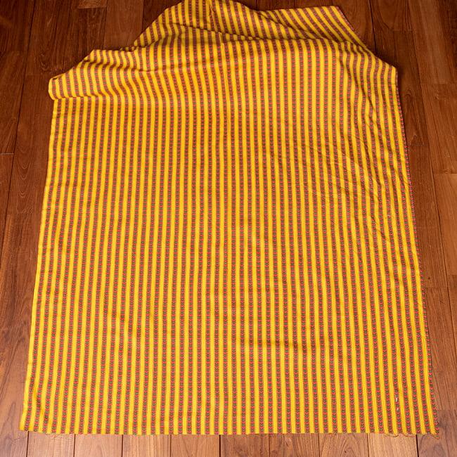 〔1m切り売り〕南インドのアローストライプ布〔約106cm〕 - イエロー 2 - とても素敵な雰囲気です