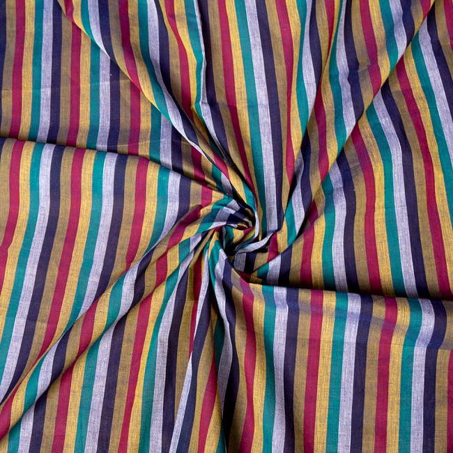 〔1m切り売り〕南インドのストライプ布〔約106cm〕 - セーシェル 5 - 生地の拡大写真です。とても良い風合いです。