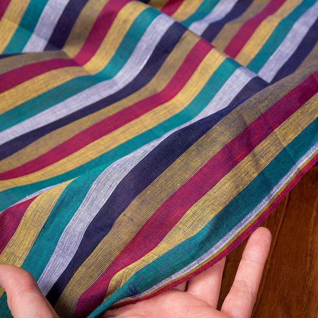 〔1m切り売り〕南インドのストライプ布〔約106cm〕 - セーシェル 6 - 生地を広げてみたところです。横幅もしっかりあります。注文個数に応じた長さにカットしてお送りいたします。