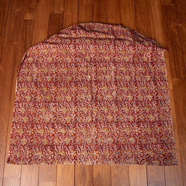 〔1m切り売り〕伝統息づく南インドから 昔ながらの木版染め更紗模様布〔約106cm〕 - レッド 2 - とても素敵な雰囲気です