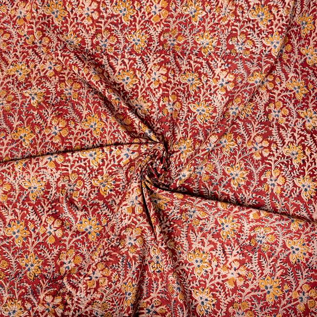 〔1m切り売り〕伝統息づく南インドから 昔ながらの木版染め更紗模様布〔約106cm〕 - レッド 4 - インドならではの布ですね。