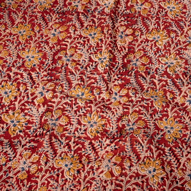 〔1m切り売り〕伝統息づく南インドから 昔ながらの木版染め更紗模様布〔約106cm〕 - レッドの写真