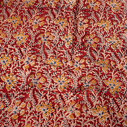 〔1m切り売り〕伝統息づく南インドから 昔ながらの木版染め更紗模様布〔約106cm〕 - レッド