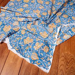 〔1m切り売り〕ジャイプル職人手作り インド伝統の木版染め更紗マルチクロス 色彩豊かなボタニカルデザイン〔幅約106cm〕の商品写真