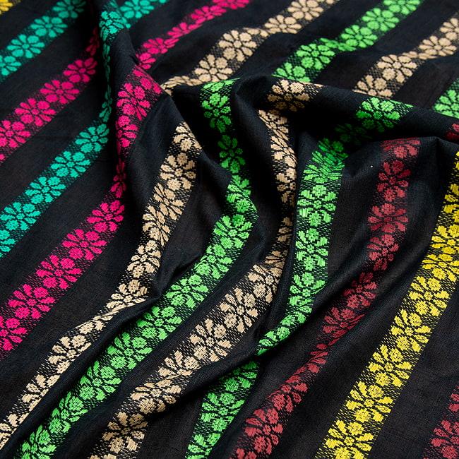 〔1m切り売り〕インドのお花刺繍シンプルコットン布〔幅約112cm〕 - ブラック系 2 - とても素敵な雰囲気です