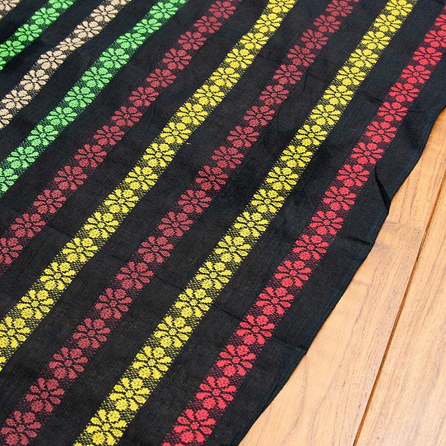 〔1m切り売り〕インドのお花刺繍シンプルコットン布〔幅約112cm〕 - ブラック系 3 - 端の部分を見てみました。