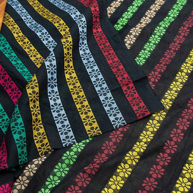 〔1m切り売り〕インドのお花刺繍シンプルコットン布〔幅約112cm〕 - ブラック系 4 - 裏面の様子です。
